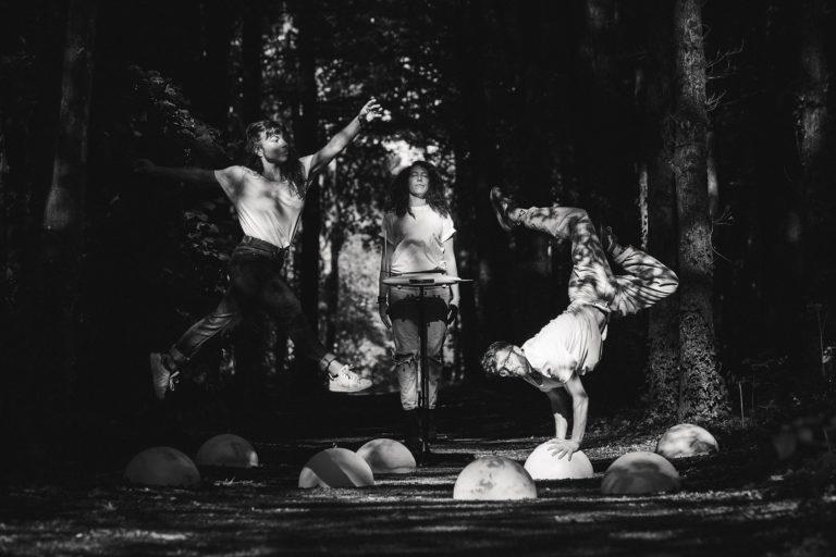 """Photo en noir et blanc du spectacle """"Hors Ligne"""" de Handiclap 2019. On y voit trois jeunes gens dansant et faisant des acrobaties : deux femmes et un homme ; tous trois au centre de la photo."""