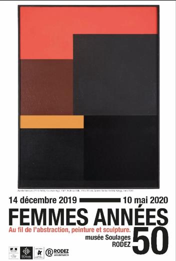 """Affiche de l'exposition """"Femme dans les années 1950"""" au musée Soulages ; consacrée aux femmes-artistes de cette décennie. Sur un fond blanc, un rectangle vertical subdivisé en rectangles et en carrées rouges, marrons, orange, gris anthracite et noirs."""