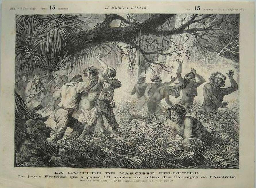 Illustration de la capture forcée de Narcisse Pelletier par les anglais